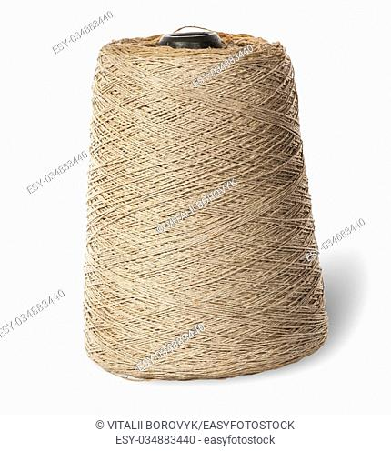 Vertical bobbin of old dirty thread beige isolated on white background