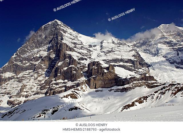 Swiss Alps north face of the Eiger (3970m) and the Mönch (4107m)