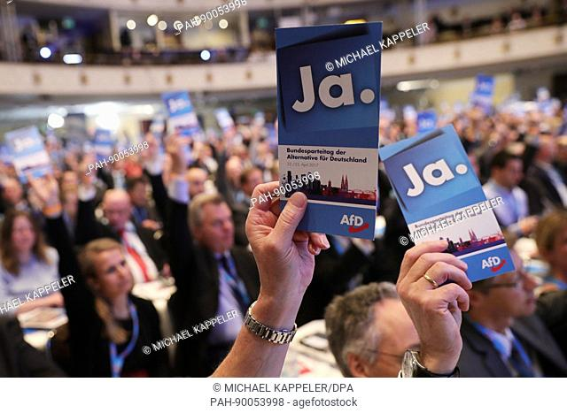 Delegates vote at the Alternative for Germany (AfD) party's national convention in the Maritim Hotel in Cologne, Germany, 22 April 2017