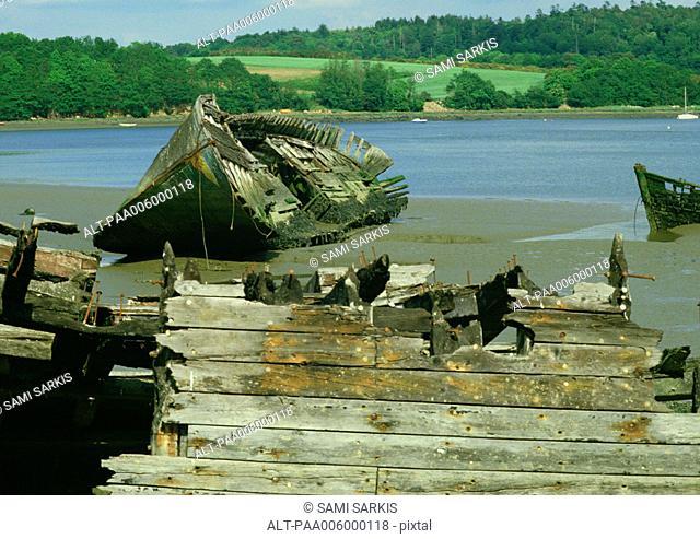 Abandoned boat wreckage