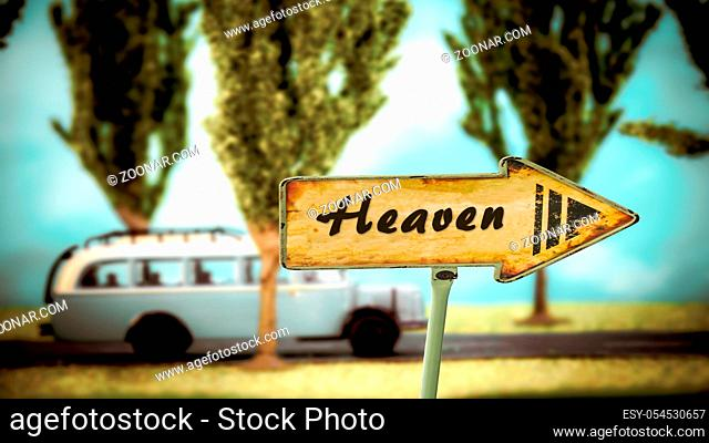 Street Sign the Direction Way to Heaven