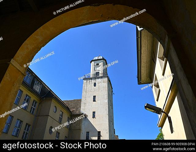 """03 June 2021, Brandenburg, Templin: The clock tower of the """"""""Joachimsthalsches Gymnasium building ensemble"""""""". There have been many interested parties for the..."""