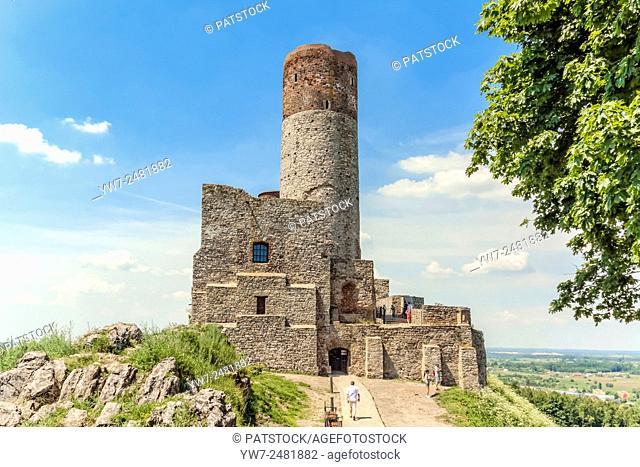 Tourists visiting Checiny Castle, Poland