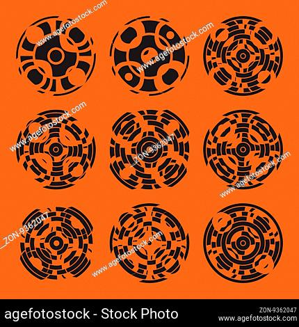 Abstract hightech collection set of 9 radars, Technology circle background. eps 10