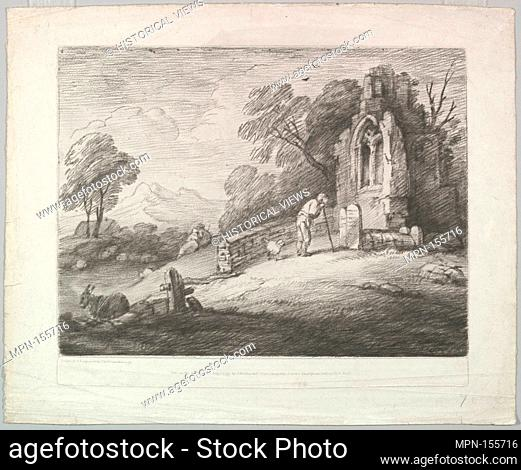 Wooded Landscape with a Peasant Reading a Tombstone, Rustic Lovers and a Ruined Church. Artist: Thomas Gainsborough (British