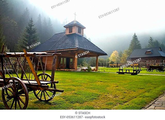 Ruzomberok - entrance to the Cutkovska valley with chapel. Faith, prayer, religion