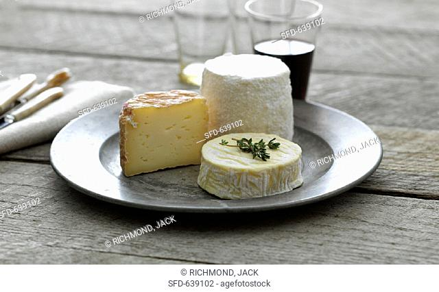 Three types of cheese on pewter plate