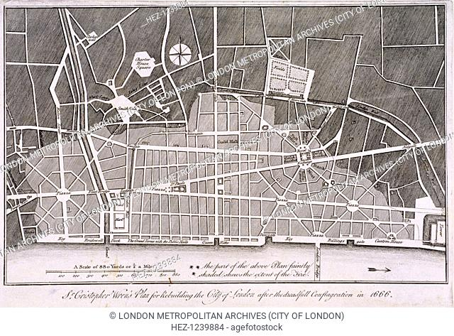 Proposed plan for the rebuilding of the City of London after the Great Fire in 1666