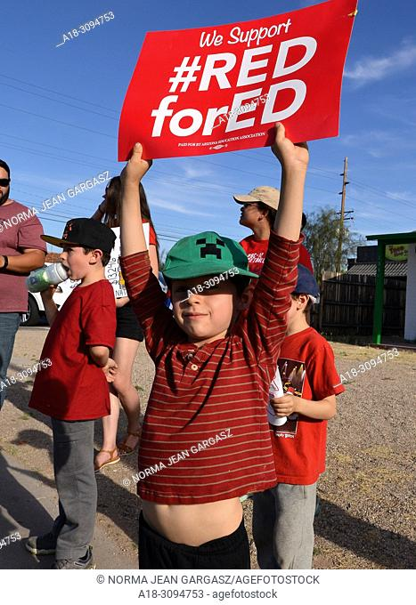 Hundreds of teachers and supporters rally on April 25, 2018, in Tucson, Arizona, USA, prior to a teachers state-wide strike for greater funding for education in...