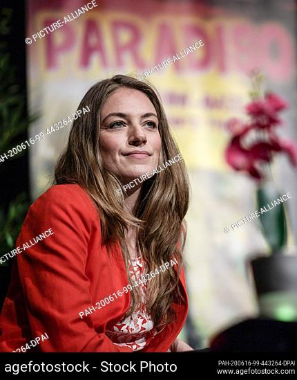 16 June 2020, Hamburg: Tessa Aust, managing director of the Schmidt Theater, sits during the press conference for the reopening of the building in July