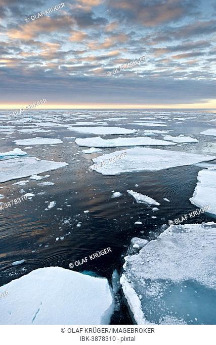 Ice floes, edge of the pack ice, Arctic Ocean, Spitsbergen, Svalbard Islands, Svalbard and Jan Mayen, Norway