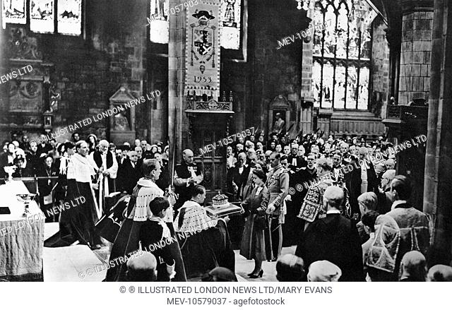 The newly-crowned Queen Elizabeth II, attends the Scottish National Service of Dedication and Thanksgiving at the High Kirk of Edinburgh (St Giles' Cathedral)