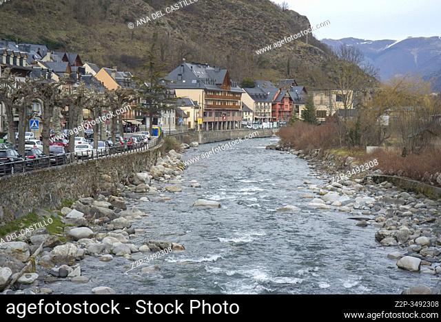 Viella town capital of Aran valley in Lleida Catalonia Spain on January 25, 2020. Arriu Nere Black river