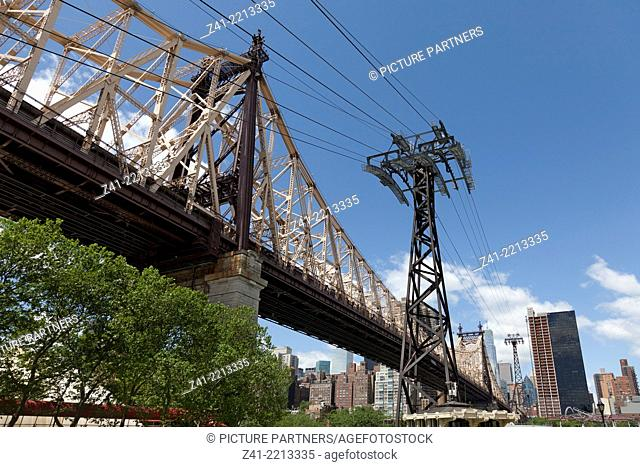 The Queensboro bridge and East river seen from Roosevelt Island in New York City