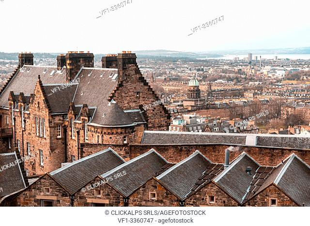 Edinburgh, view of the city from the Castle. Scotland, UK