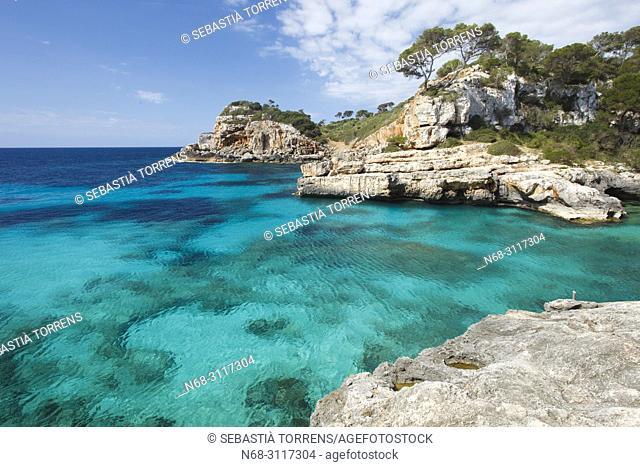 Cala S'Almunia, coast of Santanyi, Majorca, Balearic Islands, Spain