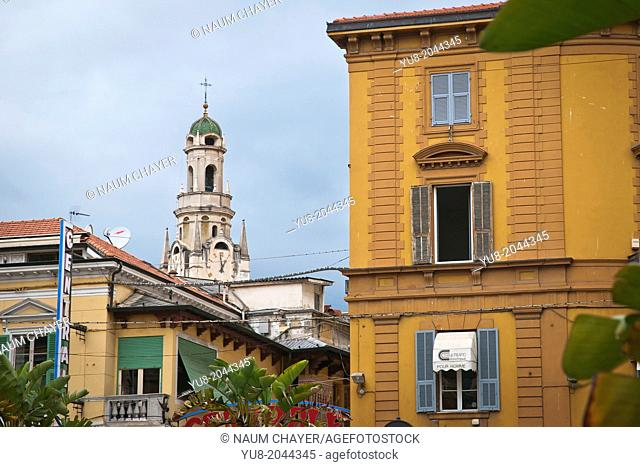 Detail of Sanremo with Church tower and old building, San Remo, Italy