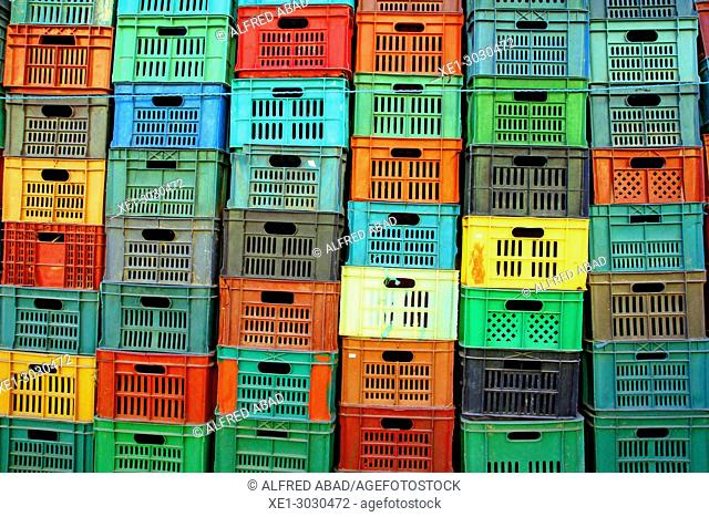 stacked plastic boxes, Tozeur, Tunisia