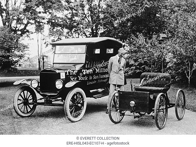 Henry Ford stands between the first and ten millionth Ford, June 4, 1924 (BSLOC-2016-10-129)