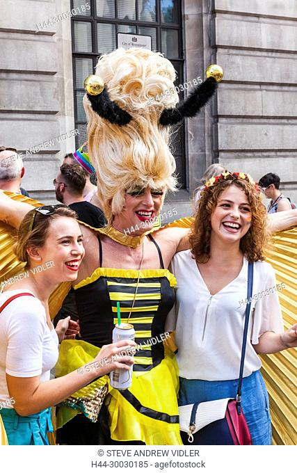 England, London, London Pride Festival Parade, Tourists Posing with Drag Queens