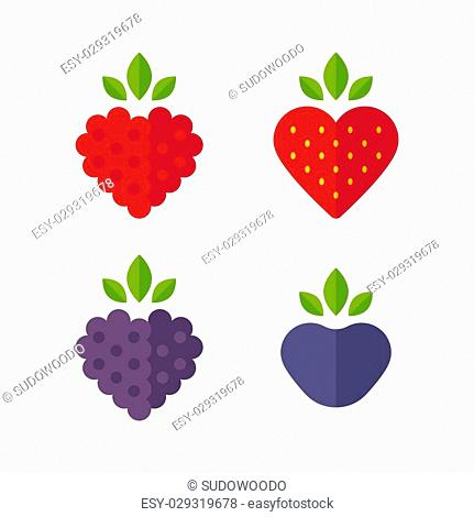 Heart shaped berries icon set. Raspberry, blueberry, strawberry, blackberry. Flat stylized vector illustration