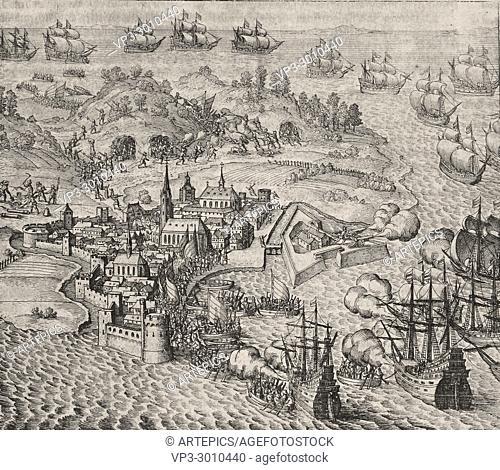 Theodor de Bry - 1599 June 30th July 4th Dutch Pirates attacks Las Palmas in Canary Island