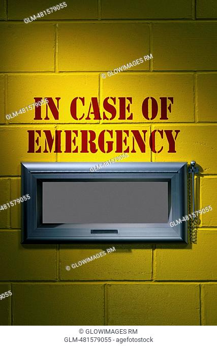 Close-up of an emergency sign