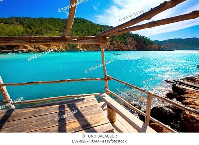 Ibiza Cala Benirras beach in san Joan at Balearic