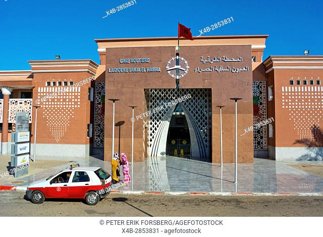 Gare routiere, long distance bus station, Laayoune, El Aioun, Western Sahara, administered by Morocco