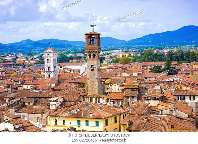 View from Torre Guinigi to the old town of Lucca, Tuscany, Italy