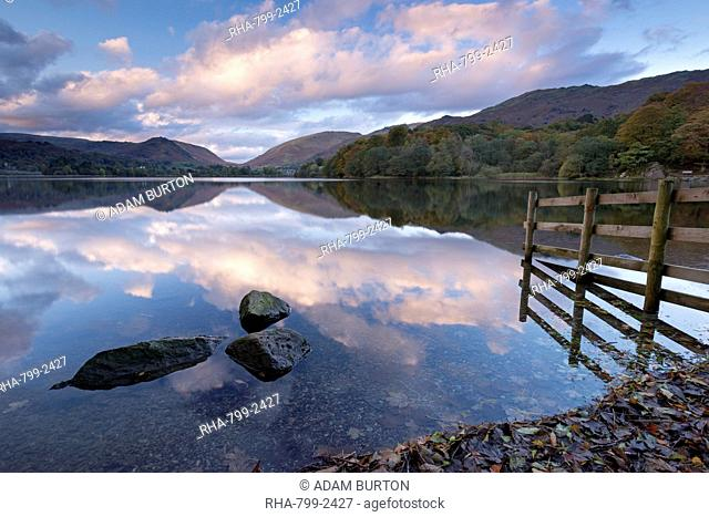 Sunset above Grasmere in autumn, Lake District National Park, Cumbria, England, United Kingdom, Europe