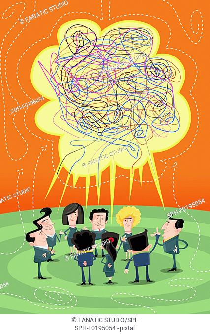 Illustration of businesspeople discussing in meeting