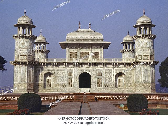 The Itmad-Ud-Daulah tomb stands in the centre of a grand Persian garden. It was built by Empress Noorjehan, between 1622 and 1628 A. D. Agra, India