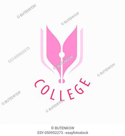 College logo design template. Vector illustration of icon