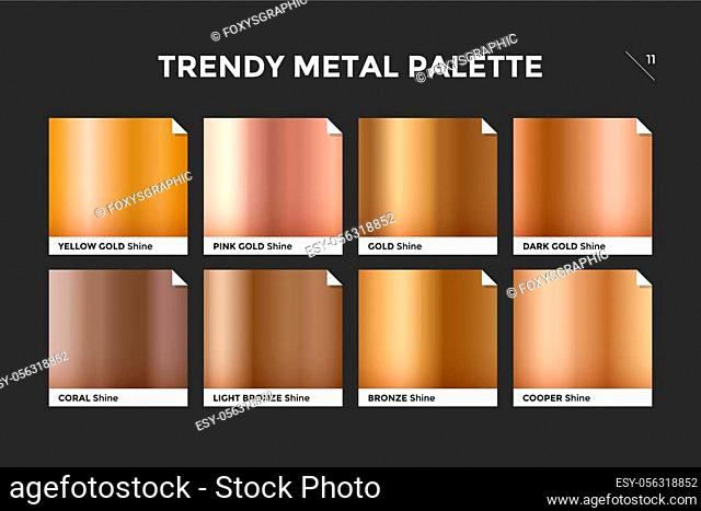 Gold gradient template. Collection palette of gold metallic gradient swatches with gloss for backgrounds, textures. Set of realistic gold metallic palettes