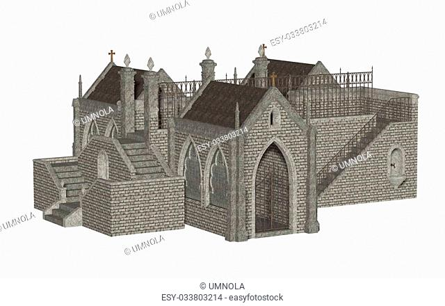 Medieval church, isolated on the white background