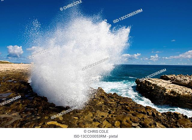 Sea breaks through Blow Hole. Antigua