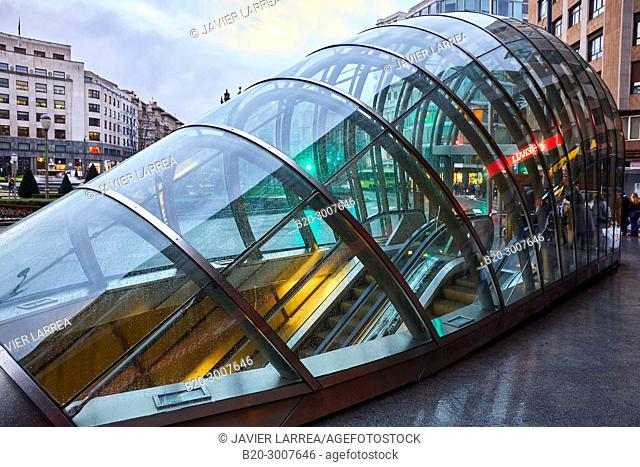 Entry of subway station in Bilbao projected by Norman Foster, Underground Tube, Metro Bilbao, Moyua Plaza, Bilbao, Bizkaia, Basque Country, Spain, Europe