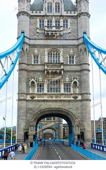 Tower Bridge - iconic symbol of London. It is a combined bascule and suspension bridge in London, over River Thames. Tower Bridge is close to Tower of London