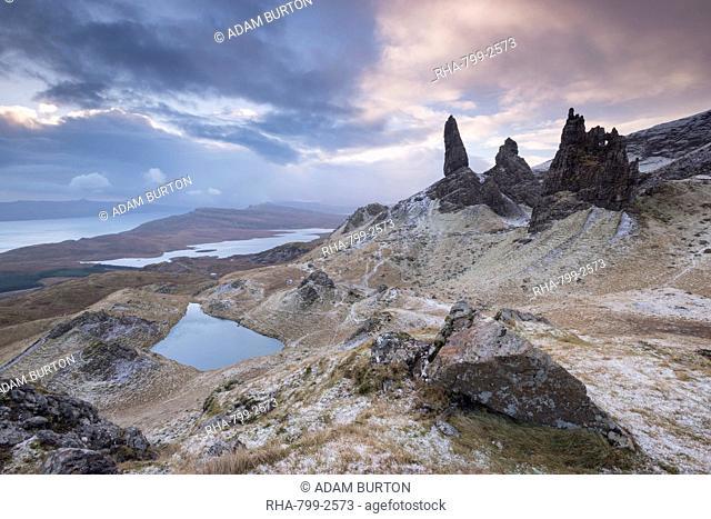Winter scene at the Old Man of Storr, Isle of Skye, Inner Hebrides, Scotland, United Kingdom, Europe