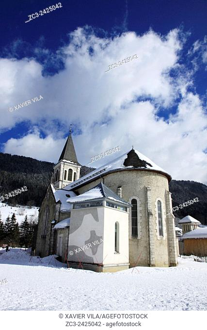 Church of the ski resort of Saint Hugues en Chartreuse, Alps, Isere, Rhone Alpes, France
