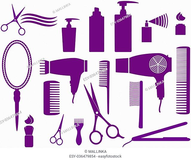 set of hairstyling isolated objects on white background