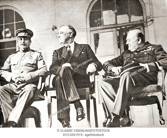 "Stalin, Roosevelt and Churchill at the Teheran Conference, 1943. Sir Winston Leonard Spencer-Churchill, 1874 â. ""1965. British politician, statesman"