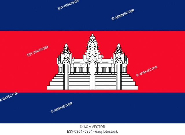 Standard Proportions and Color for Cambodia Flag