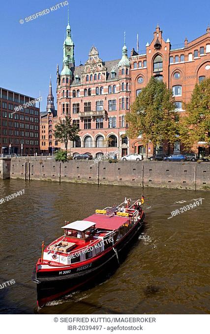 Boat, Speicherstadt, warehouse district, Hamburg, Germany, Europe
