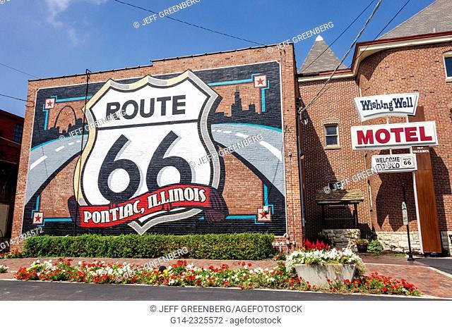 Illinois, Pontiac, Historic Route 66, mural, Wishing Well Motel