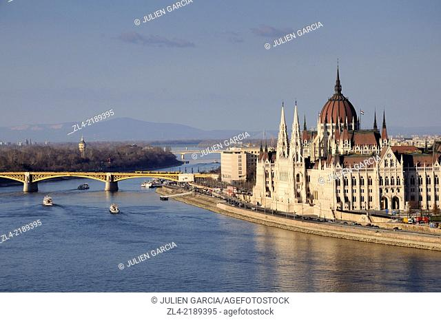The Hungarian Parliament Building. Hungary, Budapest, banks of Danube river