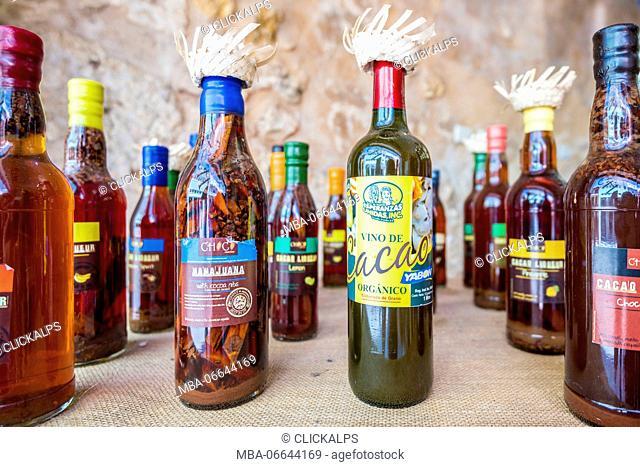 Colonial Zone (Ciudad Colonial), Santo Domingo, Dominican Republic. Cacao liquors in a shop