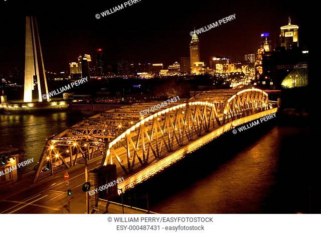 Waibaidu Bridge, The Bund, Shanghai China Night Shot Trademarks Removed   This is one of the most famous bridges in the World and has been in many movies
