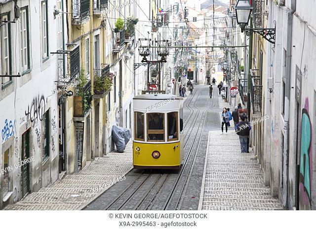 Funicular Tram on Rua da Bica de Duarte Belo Street; Lisbon; Portugal;